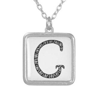 Monogramm-Buchstabe G Halskette Mit Quadratischem Anhänger