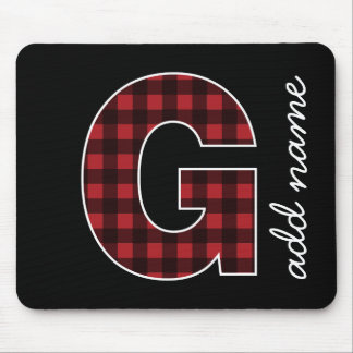Monogramm-Buchstabe G - schwarz und roter Büffel Mousepads