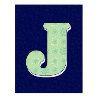 Monogramm-Buchstabe J Postkarte