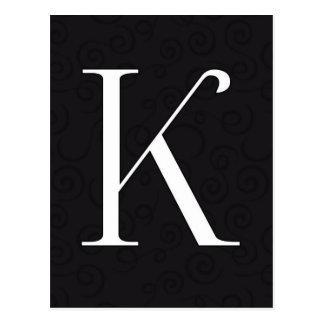 Monogramm-Buchstabe K Postkarte