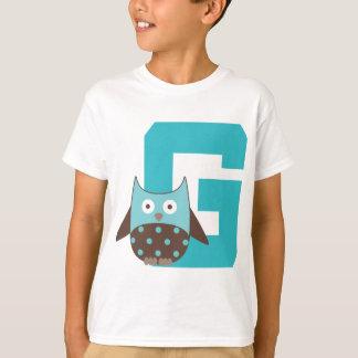 Monogramm-Buchstabeg-Alphabet-Eule T-Shirt