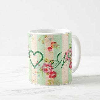 Monogramm ChicVintage Blumenkaffee-Tasse Kaffeetasse