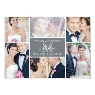 Monogramm-Collagen-Hochzeits-Mitteilung - Grau 12,7 X 17,8 Cm Einladungskarte