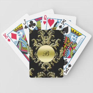 Monogramm-Damast-personalisierte Spielkarten