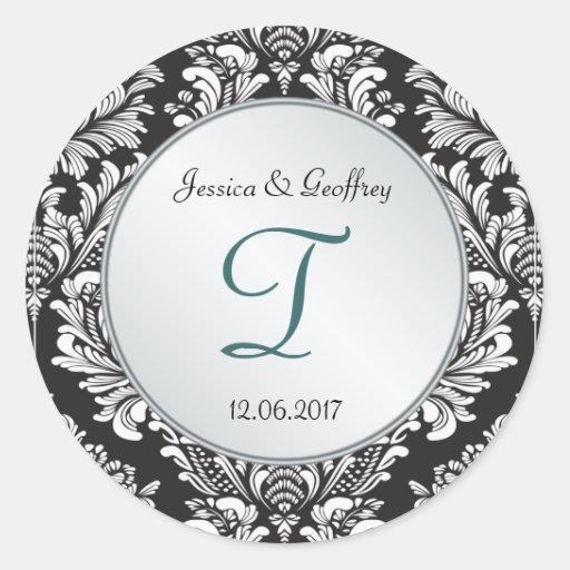 Monogramm-Damast-Schwarz-weißer Hochzeits-Aufklebe Runder Aufkleber