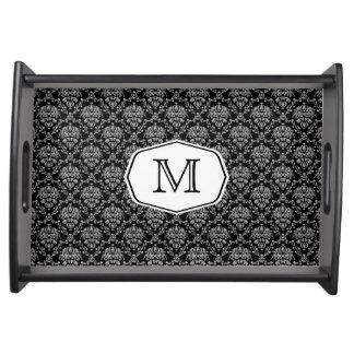 Monogramm-Damast-Serviertablett Tablett