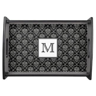 Monogramm-Damast Tablett