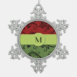 Monogramm - Damast, Verzierungen, Wirbel - grünes Schneeflocken Zinn-Ornament