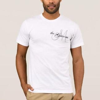 Monogramm der Bräutigam, der T Wedding ist--Shirt T-Shirt