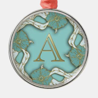 Monogramm des Alphabetes A Rundes Silberfarbenes Ornament