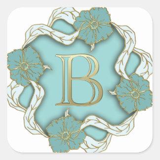 Monogramm des Alphabetes b Quadratischer Aufkleber