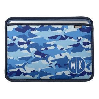 Monogramm des blauer Haifisch-Muster-| Sleeve Fürs MacBook Air