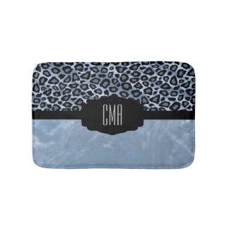 Monogramm des blauer Leopard-Vintages Druck-| DIY Badematte