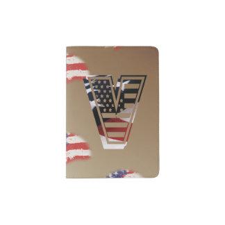 Monogramm des Buchstabe-V patriotische Passhülle
