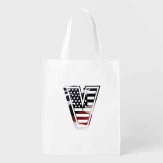 Monogramm des Buchstabe-V patriotische Wiederverwendbare Einkaufstasche