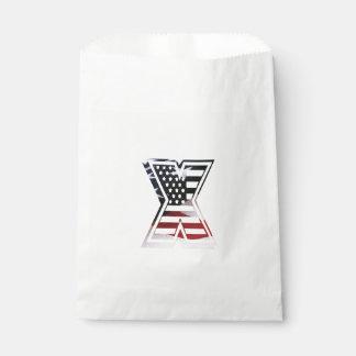 Monogramm des Buchstabe-X patriotische Geschenktütchen