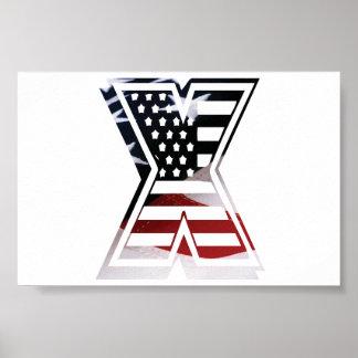 Monogramm des Buchstabe-X patriotische Poster