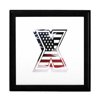 Monogramm des Buchstabe-X patriotische Schmuckschachtel