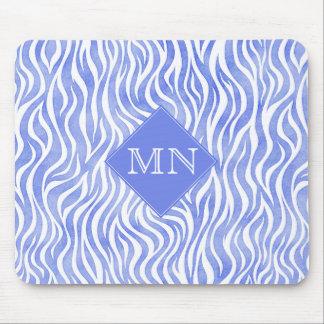 Monogramm des Denim-blaues Aquarellzebra-Druck-| Mousepad