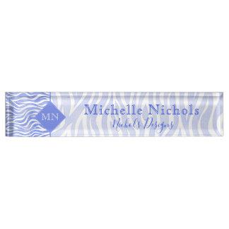 Monogramm des Denim-blaues Aquarellzebra-Druck-| Schreibtischplakette
