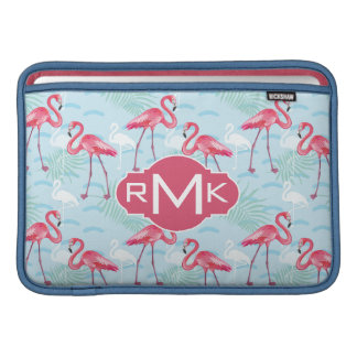 Monogramm des Flamingo-Muster-| Sleeve Fürs MacBook Air
