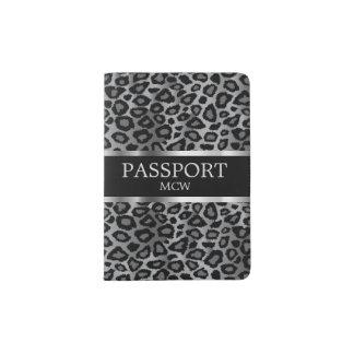 Monogramm des grauer Leopard-Tierdruck-  Passhülle