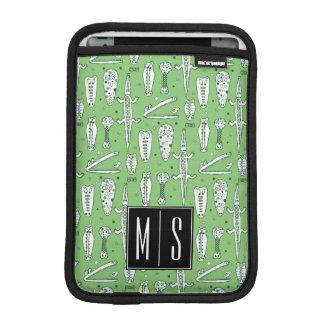 Monogramm des Skizze-Krokodil-Muster-| iPad Mini Sleeve