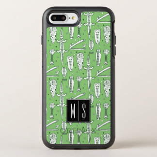 Monogramm des Skizze-Krokodil-Muster-| OtterBox Symmetry iPhone 8 Plus/7 Plus Hülle
