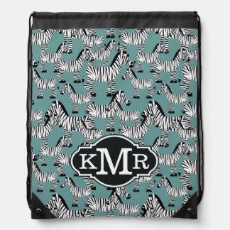 Monogramm des Zebra-Muster-| Turnbeutel