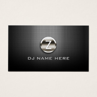 Monogramm DJ berufliches Stahlmetallisches Visitenkarte