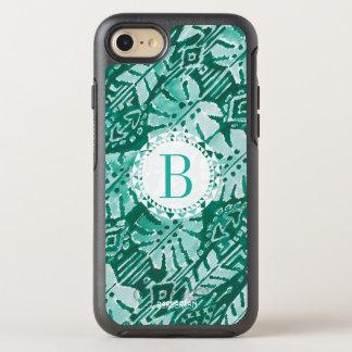 Monogramm DSCHUNGEL IKAT hawaiisches grünes OtterBox Symmetry iPhone 8/7 Hülle