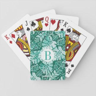 Monogramm DSCHUNGEL IKAT hawaiisches grünes Spielkarten