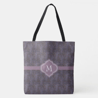 Monogramm-dunkle lila blaue Rost-Wellen Tasche