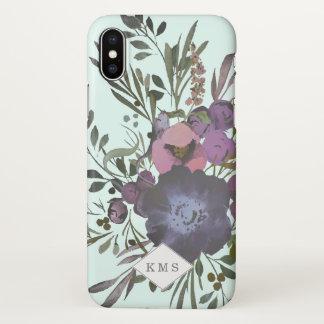 Monogramm-dunkler Blumenstrauß-Kranz-Kasten iPhone X Hülle