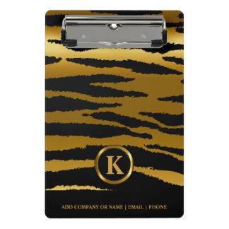 Monogramm-dunkles Gold und schwarze Zebra-Streifen Mini Klemmbrett