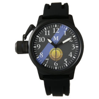 Monogramm: Dünne Blue Line. 1-jähriger Jahrestag Uhr