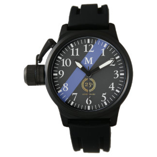 Monogramm: Dünne Blue Line. 25-jähriger Jahrestag Armbanduhr
