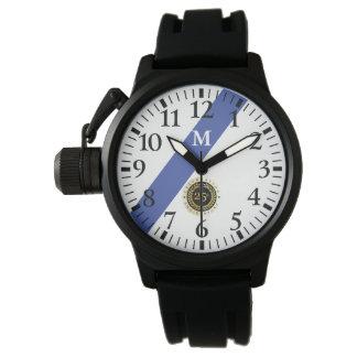 Monogramm: Dünne Blue Line. 25-jähriger Jahrestag Uhr