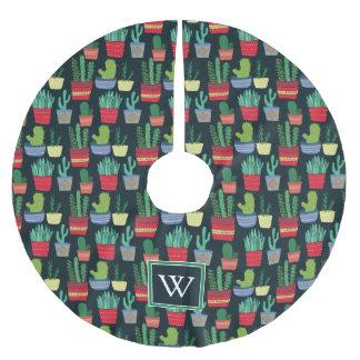 Monogramm | eine Menge des Kaktus Polyester Weihnachtsbaumdecke