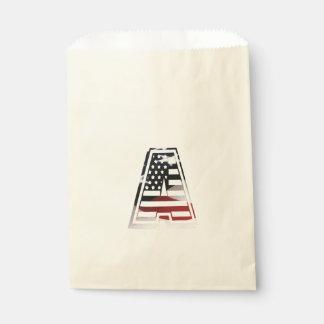 Monogramm eine USA-Flaggen-amerikanische Initiale Geschenktütchen