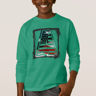 Monogramm eine USA-Flaggen-amerikanische Initiale T-Shirt