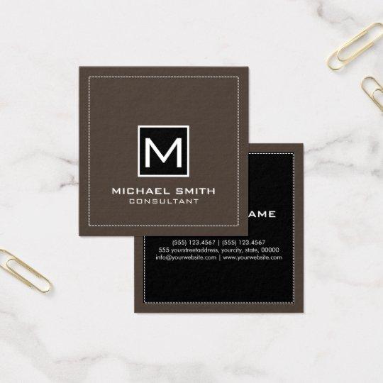 Monogramm-elegante moderne schwarze Lava Quadratische Visitenkarte