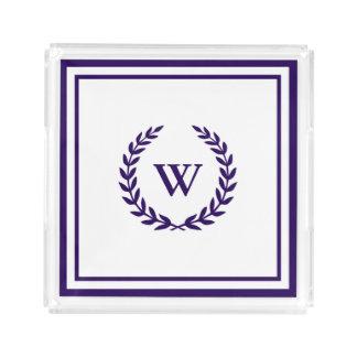 Monogramm-eleganter Marine-Blau-weißer klassischer Acryl Tablett