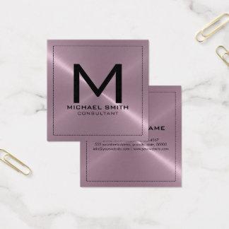 Monogramm-eleganter moderner Lavendel-rostfreies Quadratische Visitenkarte