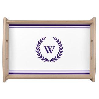 Monogramm-elegantes Marine-Blau-und Serviertablett