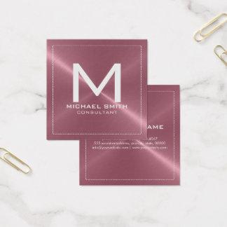 Monogramm-elegantes modernes kupfernes rostfreies quadratische visitenkarte