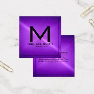 Monogramm-elegantes modernes lila rostfreies quadratische visitenkarte