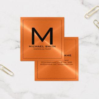 Monogramm-elegantes modernes orange rostfreies quadratische visitenkarte