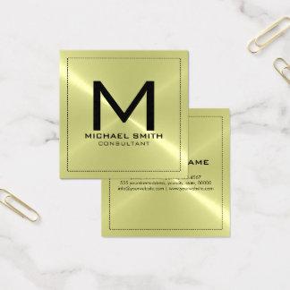 Monogramm-elegantes modernes rostfreies Metall Quadratische Visitenkarte