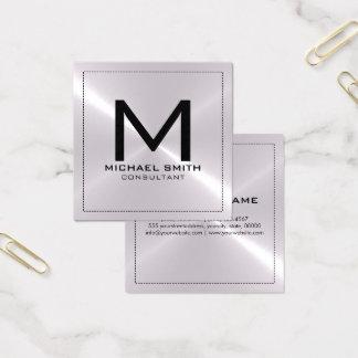 Monogramm-elegantes modernes silbernes rostfreies quadratische visitenkarte
